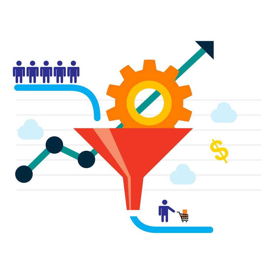 An illustration showing people entering a funnel indicating they are leads who may become customers.